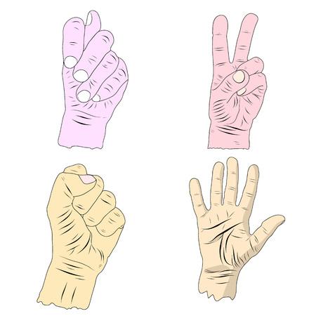Gesto de mano, colección en estilo de dibujos animados