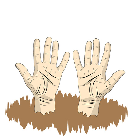 Mens Palm of the hand in cartoon style, Hand sign for poster, information graphics. Vector illustration.
