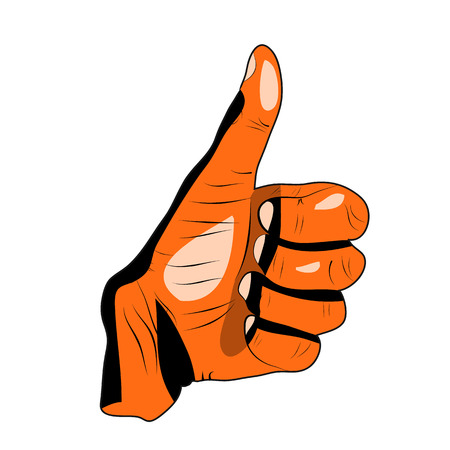 Thumb Up Gesture (expressing satisfaction, approval, success) on a white background.vector