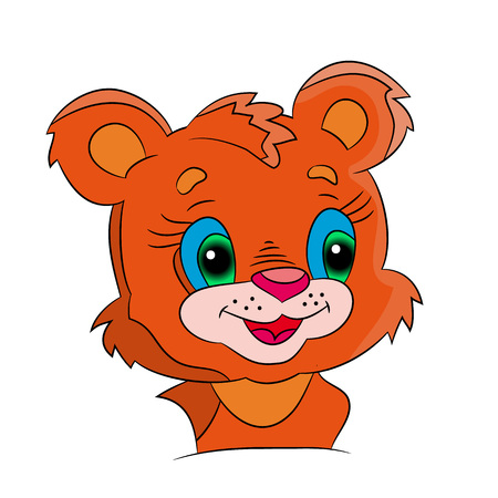 Head of a small lion from a cartoon on a white background.Vector Illustration