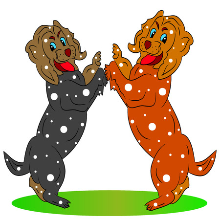 Two beautiful festive dogs, cartoon on a white background.vector Illustration