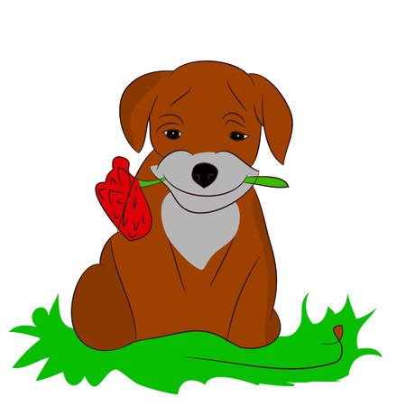 Cartoon Puppy with a flower on a white background.Vector