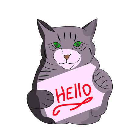 Gray cat with frame, cartoon on white background.vector Illustration
