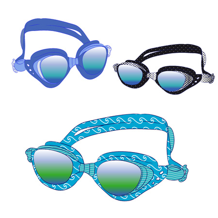 swimming glasses: Underwater glasses, collection on a white background.Vector