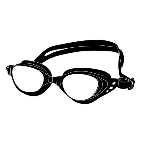 Underwater glasses. Silhouette on a white background.Vector