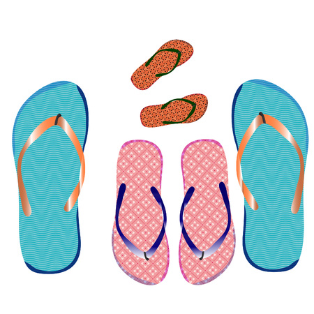 Slippers family, for the beach, on a white background. Vector