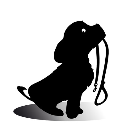 根気よく散歩に行くを待って、それは口でそれのリーシュを持って座っている犬のシルエット。ベクトル