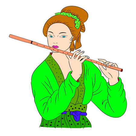 La mujer asiática está tocando la flauta. Pintura de estilo oriental. Ilustración de dibujo de mano con hermosa mujer oriental. Vector aislado en el fondo blanco. Vector Foto de archivo - 82593215