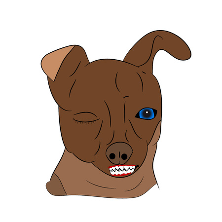 Head of an angry dog, cartoon on a white background.vector