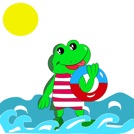 Cheerful green frog with a bathing circle in his hand, on the sea, cartoon on a white background.vector
