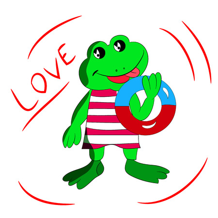 Cheerful frog with a bathing circle in his hand, cartoon love on a white background.vector