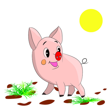 Cute cartoon pig on a white background.vector Stock Vector - 83393280
