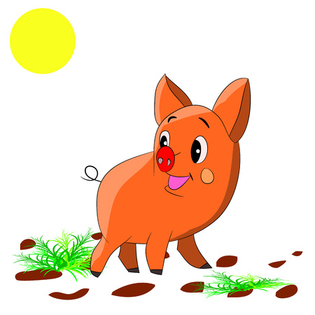 Cute orange piglet, cartoon on white background.Vector