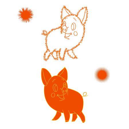 Orange sketch of a piglet, cartoon on a white background.vector Illustration