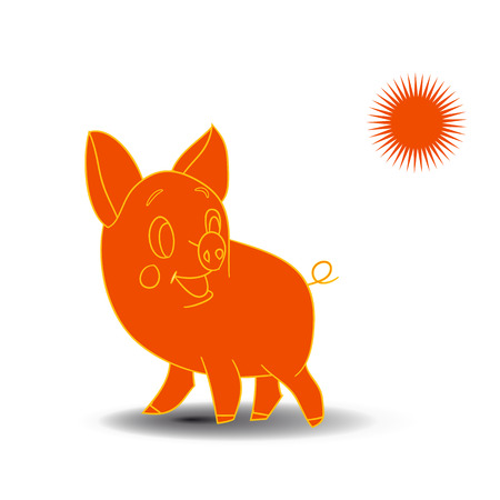Orange sketch of a piglet, cartoon on a white background.vector Illustration