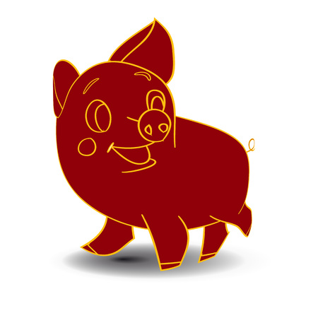 Sketch of a claret-colored piglet, cartoon on a white background.Vector