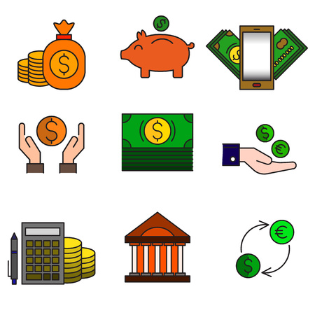 Set of colored modern icons for business and banking.Vector Illustration