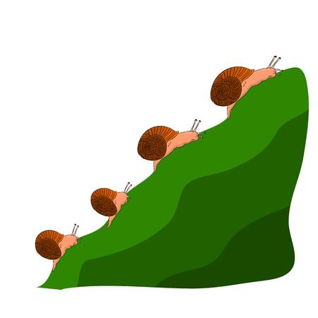 Family snails climb a mountain, cartoon on a white background.vector Illustration