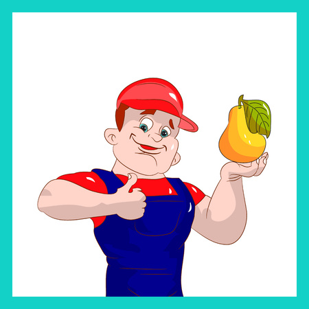 praise: A farmer man showing thumbs up with quality fruit pear, cartoon on white background.vector