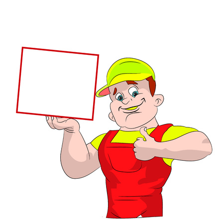 praise: Male plumber showing thumbs up, and blank frame, cartoon on white background.vector