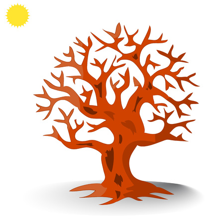 Brown tree without leaves silhouette, cartoon on white background.vector