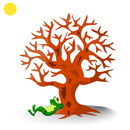 A frog lies under a tree without leaves, a cartoon on a white background.Vector