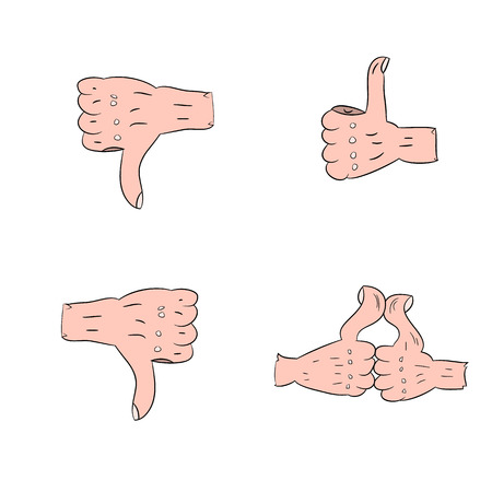 Collection of hand gestures, thumbs up, finger down, cartoon cartoon on a white background. vector illustration. Illustration