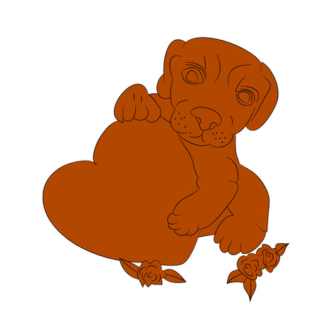 Silhouette of a brown dog in the hands holds the heart, I love you, a cartoon on a white background. vector illustration. Illustration
