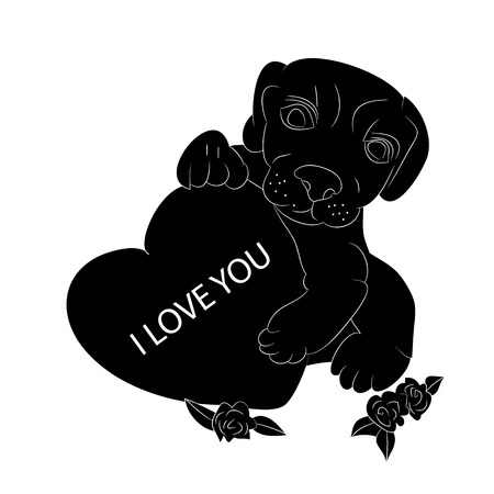 Silhouette of a dog in the hands holds the heart, I love you, cartoon on a white background. vector illustration.