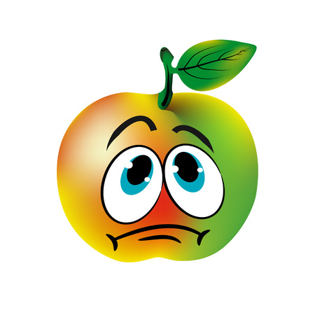 悲しい青リンゴ、白い背景の似顔絵。  イラスト・ベクター素材
