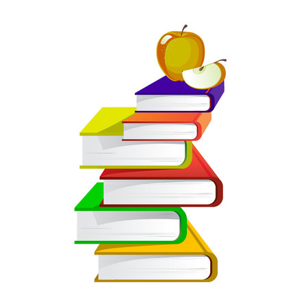 Pile of educational books, on top of an apple, on a white background.Vector