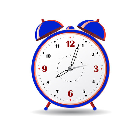Blue alarm clock, on white background.vector