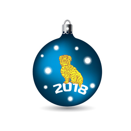 Symbol of the year 2018, yellow dog sits in a Christmas ball, cartoon on a white background.vector Illustration