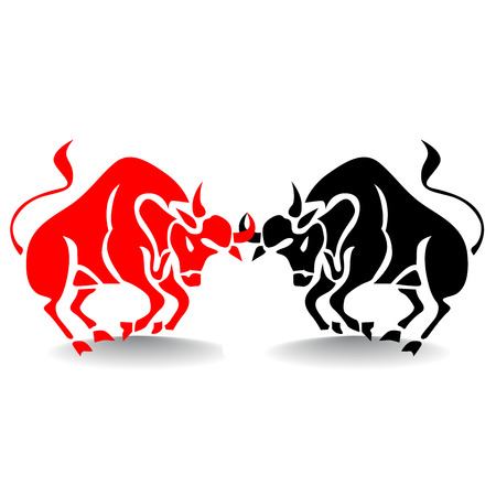 Silhouette of two bulls fighting, stock market metaphor, on white background.