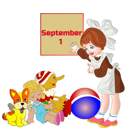 Illustration (September 1), girl schoolgirl first class, parting with toys, cartoon on white background.vector Illustration