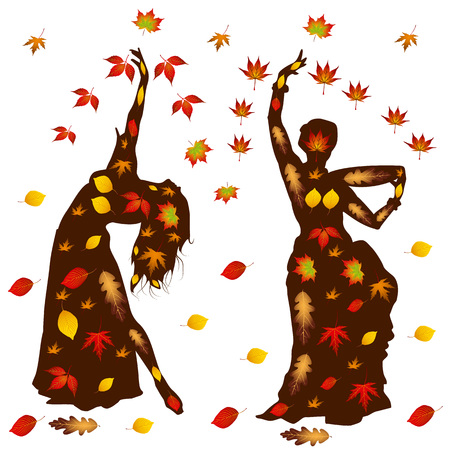 Autumn illustration of oriental dance, two girls silhouette in leaves, on white background.vector Vettoriali