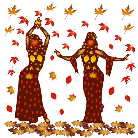 Ilustración de otoño de dos mujeres bailando, sobre un fondo de otoño leaves.Vector. Foto de archivo - 85389099