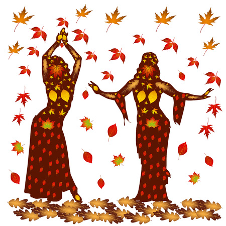 Autumn illustration of two dancing women, on a background of autumn leaves.Vector. Vettoriali
