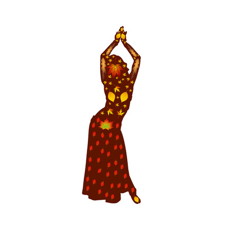 Autumn illustration of a dancing woman (oriental), silhouette on a white background. Vector. Illustration