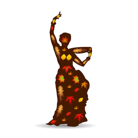 Dancing woman (oriental), Autumn illustration silhouette on white background. Vector. Illustration