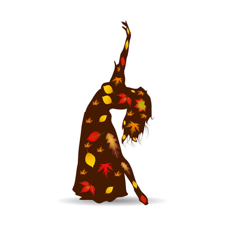 Dancing woman (oriental), Silhouette of autumn leaves on white background.vector. Çizim