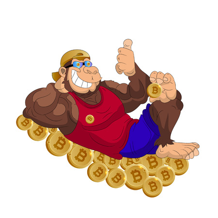 Cheerful gorilla lies on coins bitcoin, shows thumbs up, cartoon on white background.vector