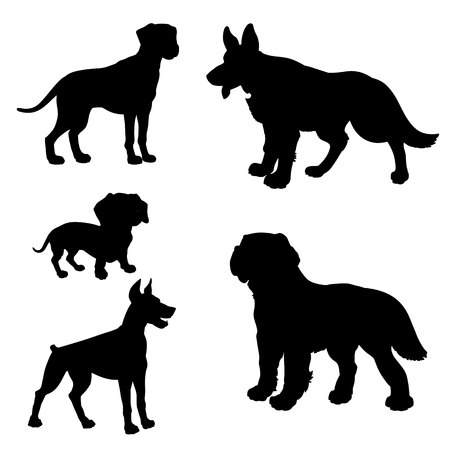 black silhouette of dogs dachshund dalmatian doberman pinscher