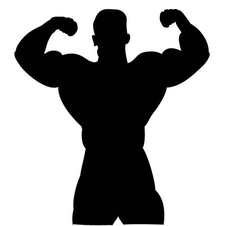 Black silhouette of a male bodybuilder. On a white background.vector