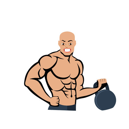 Bald bodybuilder with weight, cartoon on a white background.vector Illustration