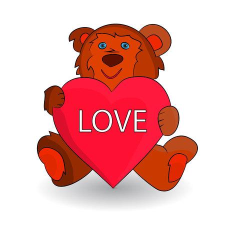 Cute brown teddy bear, heart in paws (love), cartoon on white background.vector