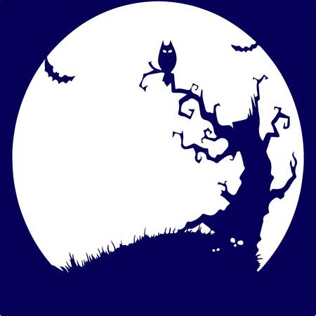 Holiday Halloween, night a terrible tree and an owl, blue silhouette.Vector Illustration