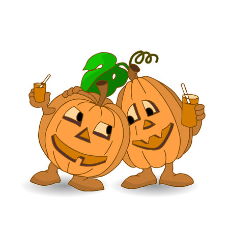 Holiday Halloween, two cheerful pumpkins rest and drink juice, cartoon on a white background.vector