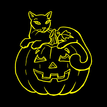 calabaza caricatura: Holiday Halloween, silhouette of a yellow glowing cat lies on a pumpkin, cartoon on a black background.vector
