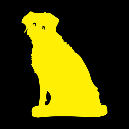 Silhouette of a yellow dog sitting, Cartoon on a black background.Vector Illustration